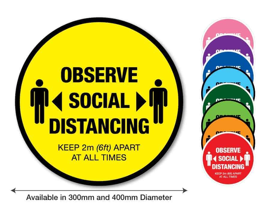 "Round yellow Social Distancing Sticker that says ""Observe Social Distancing"" on the left plus 8 other colours o the right"