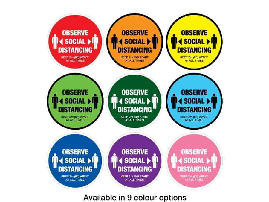 "Round Social Distancing Sticker that says ""Observe Social Distancing"" in 9 different colours"