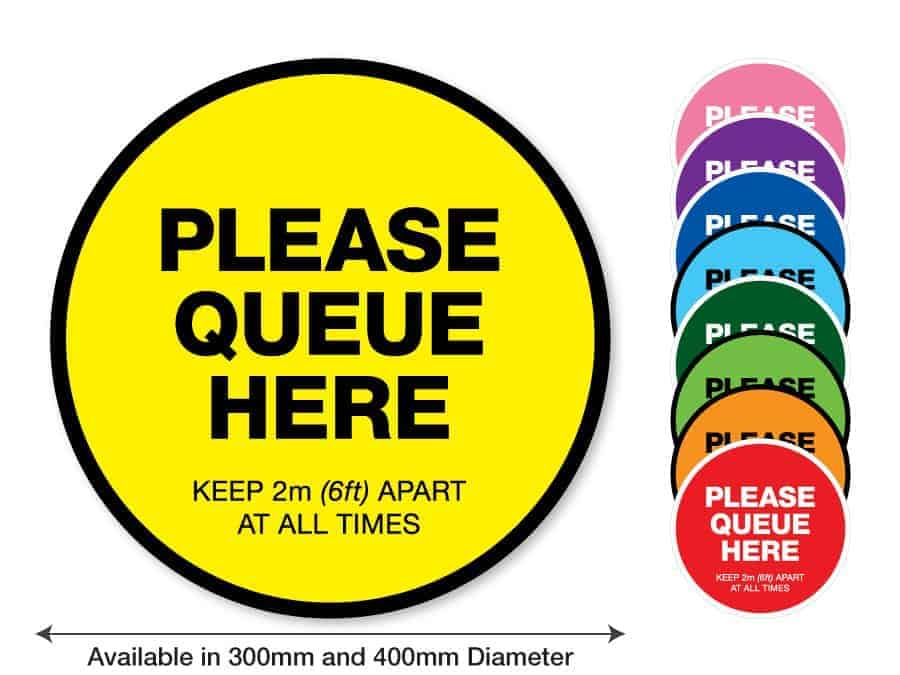 "Round yellow Social Distancing Sticker that says ""Please Queue here"" on the left plus 8 other colours o the right"