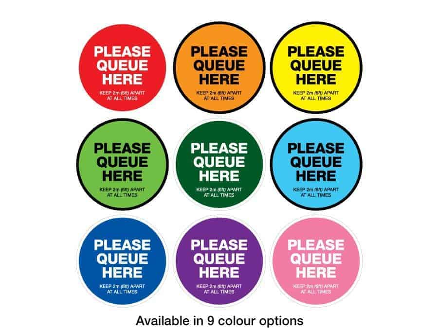 "Round Social Distancing Sticker that says ""Please Queue here"" in 9 different colours"