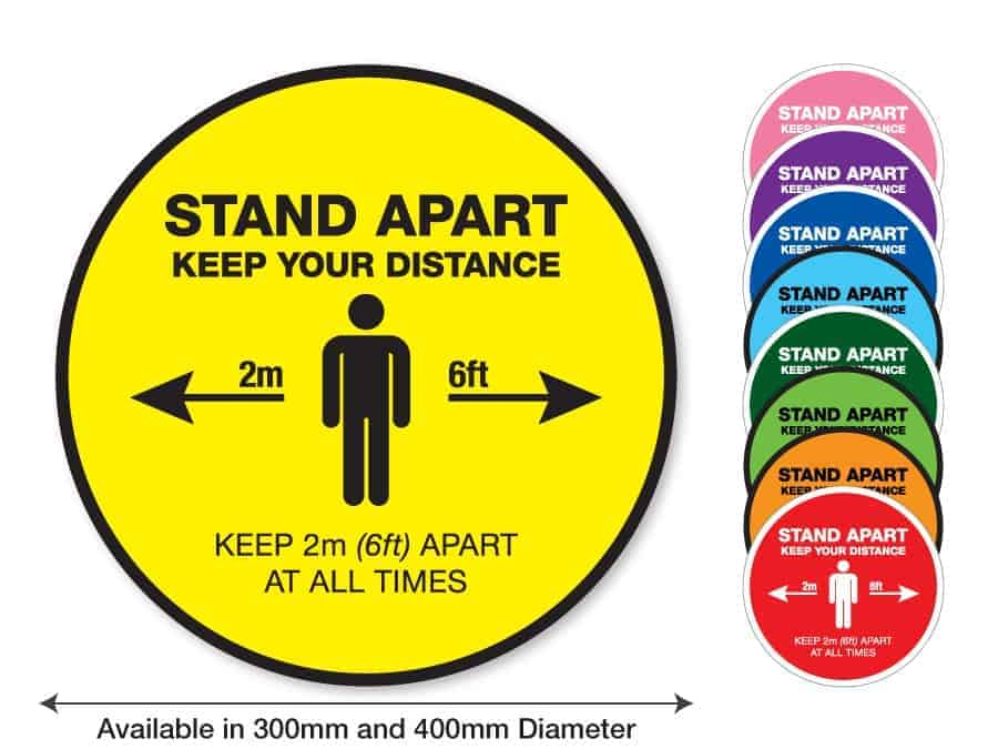 "Round yellow Social Distancing Sticker that says ""Stand apart keep your distance"" on the left plus 8 other colours o the right"
