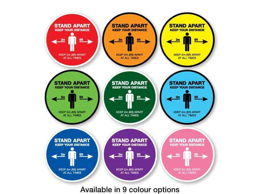 "Round Social Distancing Sticker that says ""Stand apart keep your distance"" in 9 different colours"