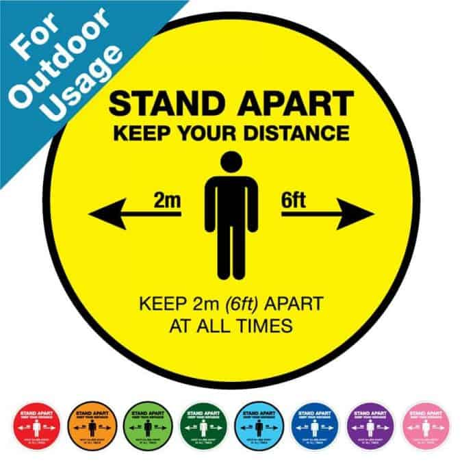 "Round yellow Social Distancing Sticker for outdoor usage that says ""Stand apart keep your distance"" on the top plus 8 other colours o the bottom"