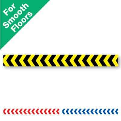Yellow and black horizontal stripe Social Distancing Sticker for smooth floors with chevrons on it, plus a red and white and blue and white version at the bottom