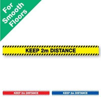 "Yellow and black horizontal stripe Social Distancing Sticker for smooth floors that says ""keep 2m distance"" plus a red and white and blue and white version at the bottom"