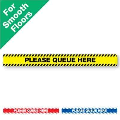 "Yellow and black horizontal stripe Social Distancing Sticker for smooth floors that says ""Please Queue Here"" plus a red and white and blue and white version at the bottom"