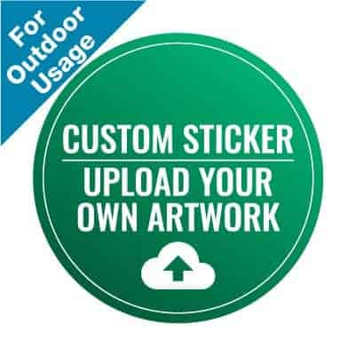 "Green and white round Social Distancing Sticker for paved outdoor floors, with the words ""Upload Your Own Artwork"""
