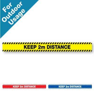 "Yellow and black horizontal stripe Social Distancing Sticker for paved outdoor floors that says ""Keep 2m Distance"" plus a red and white and blue and white version at the bottom"