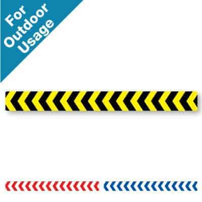 Yellow and black horizontal stripe Social Distancing Sticker for paved outdoor floors that has chevrons on it, plus a red and white and blue and white version at the bottom
