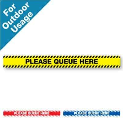 "Yellow and black horizontal stripe Social Distancing Sticker for paved outdoor floors that says ""Please Queue Here"" plus a red and white and blue and white version at the bottom"