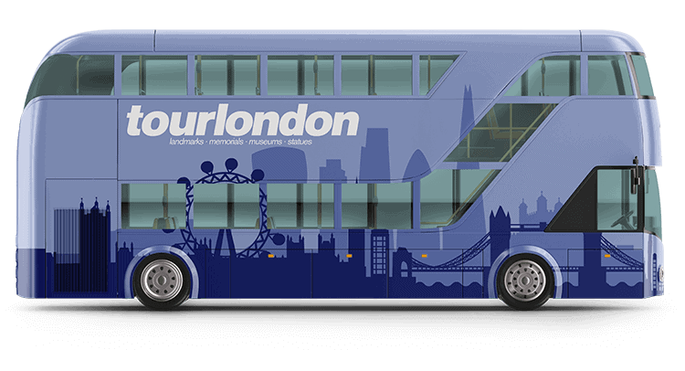 A bus after a custom bus wrap. It is now blue and has tourlondon written on it
