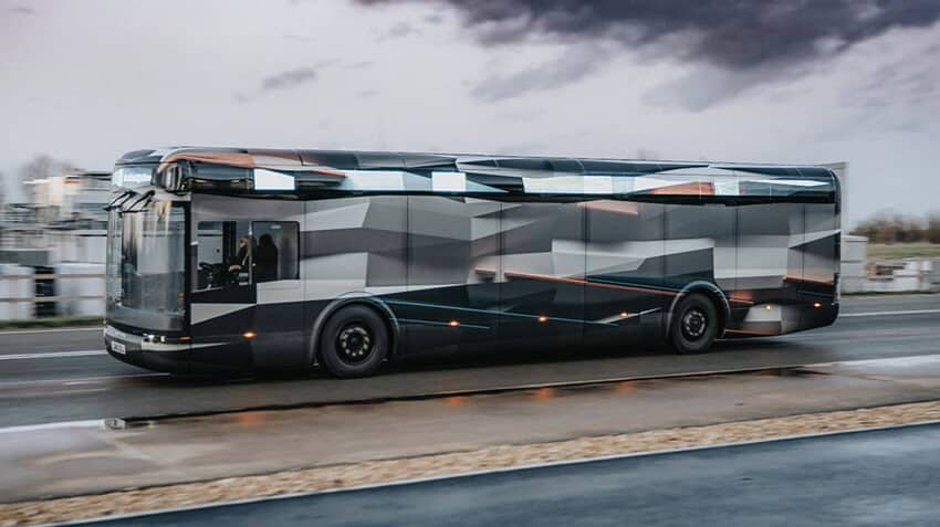 Arrival Electric bus with a full custom printed bus wrap