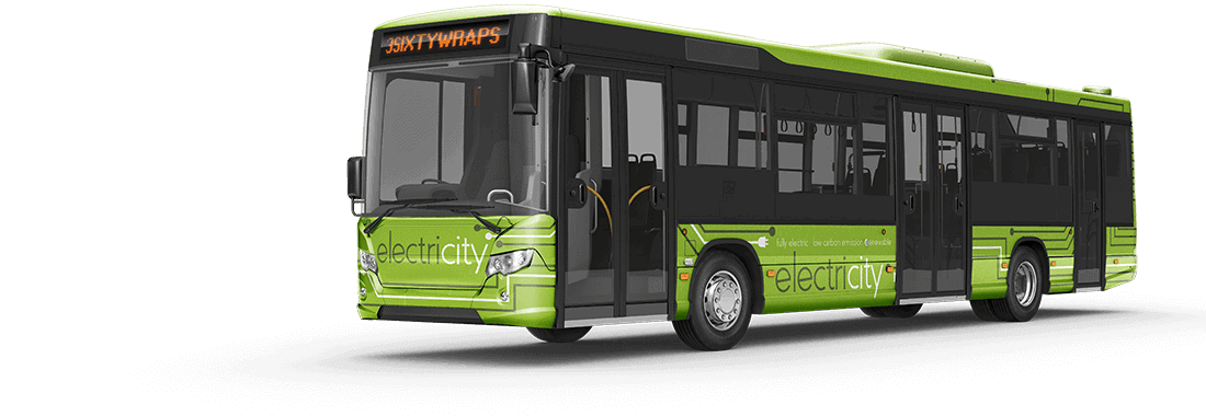Electric bus with a printed bus wrap