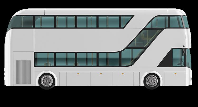 A bus before the custom bus wrap, plain white