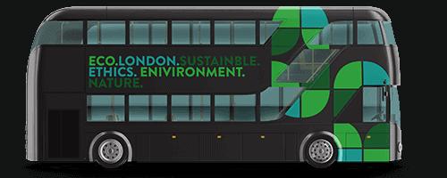 Custom bus wrap on a double decker bus