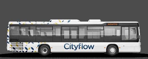 Custom bus wrap on an electric city bus