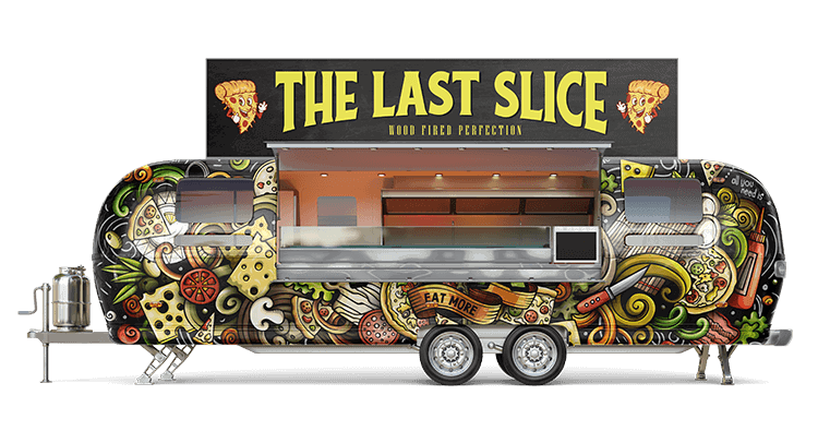 Airstream trailer with printed food truck wrap