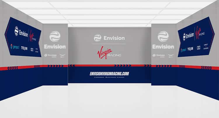 Motorsport garage walling wrapped with team graphics
