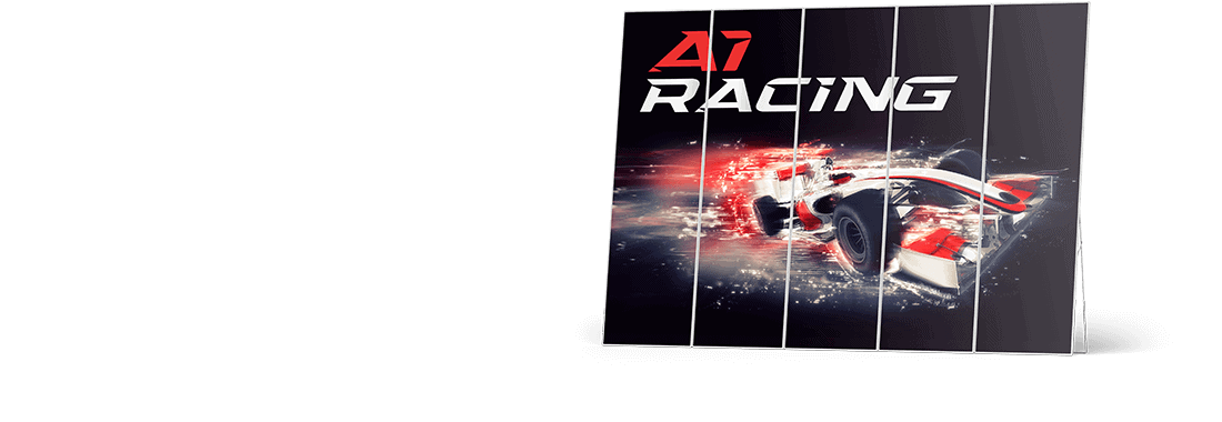 """Motorsport garage wallingwith red formula 1 car and a logo that reads """"A1 Racing"""""""