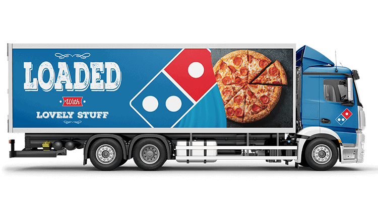 rigid truck with dominos printed truck wrap