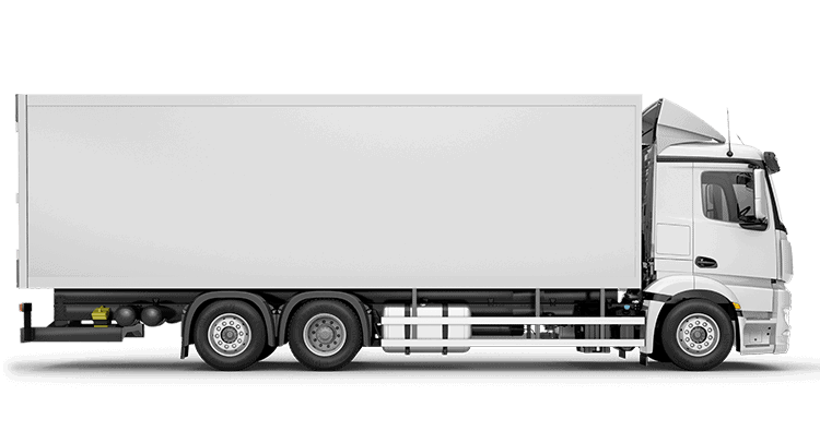 White rigid truck with no printed wrap