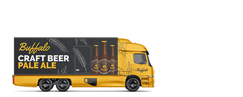 Electric truck with custom trailer wrap